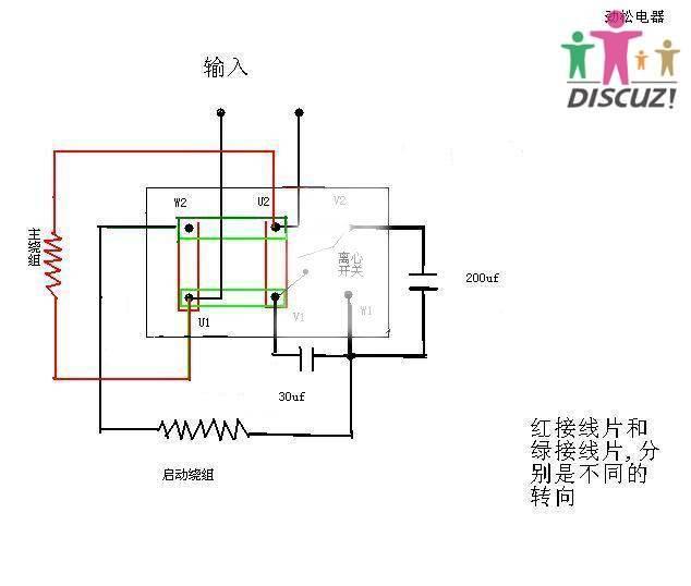 单相双电容电机接线图
